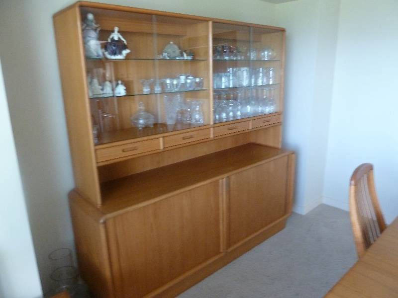 Beautiful KIBAEK Hutch Made In Denmark Top Section Has Glass Shelves And Sliding Doors With Built Lighting It Measures 67wide X 40 Tall